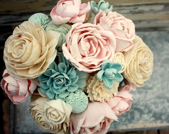 Sola flower bouquet, brides wedding bouquet, champagne, slate blue, blush pink wedding flowers, something blue bouquet, eco flowers