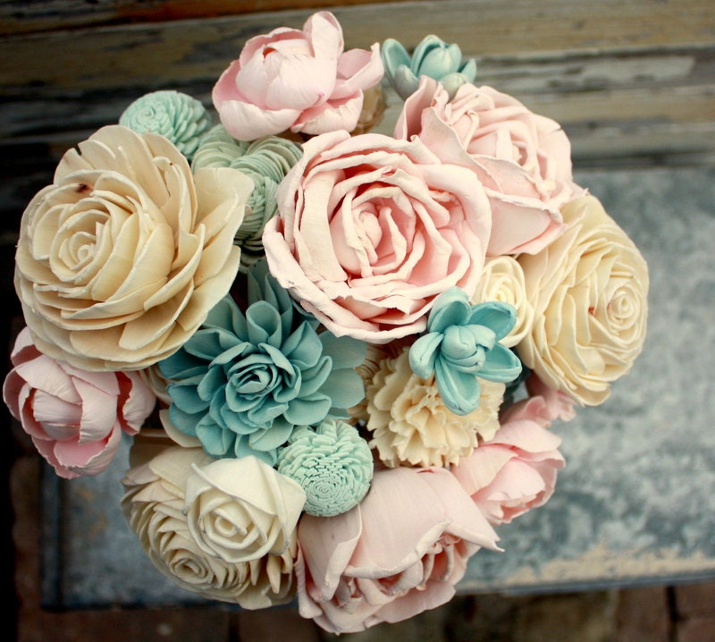 Sola flower bouquet brides wedding bouquet champagne slate