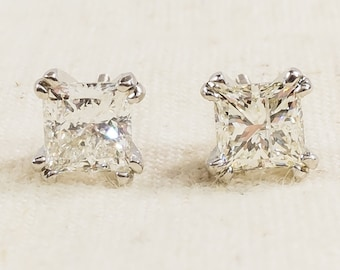 Superior Flawless 14K White Gold IGI 2.00ctw Princess Cut Natural Diamond SI2/I Pierced Stud Earrings - 2.2 grams FREE SHIPPING!