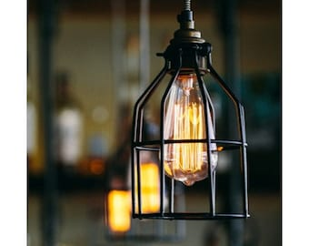 Industrial Pendant Light Hanging Edison Bulb With Cage Ceiling Lighting - Hardwired or Plug In - Industrial Lighting - Bar Lighting