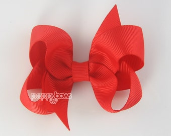 Bright Red Hair Bow 3 Inch Baby Toddler Girl - Bows Solid Color Boutique Bow on Alligator Clip Barrette Poppy Red