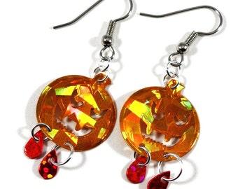 Halloween Earrings Vampire Pumpkin Earrings Orange & Red Hologram Dangles Plastic Sequins