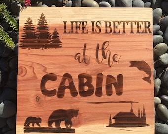 Live Edge Wood Sign - cabin, home, cottage