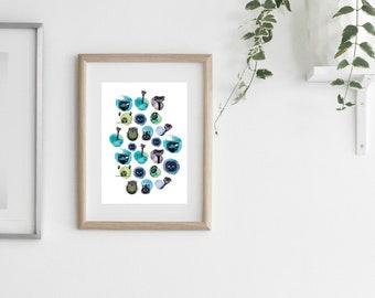 funny animal illustration, scandinavian art print, illustration print, wall art print, watercolour print, wall prints, scandinavian art