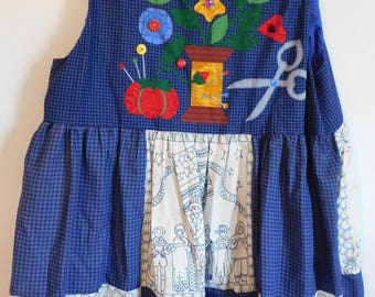 SALE Handcrafted Women's Jumper XXL Created from Vintage Pre-Printed Panel, Button Accents