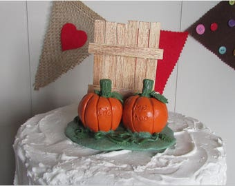 Pumpkins &  Rustic Fence Wedding Cake Topper, Pumpkin Cake Topper, Fall Cake Topper, Fall Wedding Cake Topper, Orange Fall Cake Topper