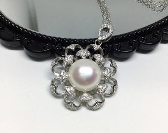 Blest Jewellery- Pearl Pendant - AAA 11MM White Color Freshwater Pearl Pendant , Cubic Zirconia With 925 Silver,18 Inches 925 Silver Chain