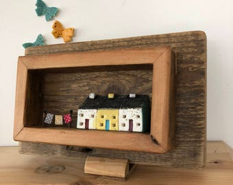 3 in a Row Wash Day Ceramic Bothy Cottages in a Vintage  Open Fronted Wooden Box Frame Made from Re-cycled Victorian Floorboards