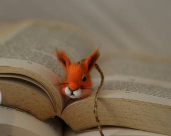 Squirrel bookmark. Needle felted small squirrel