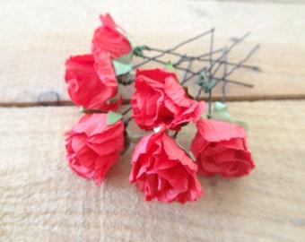 Red Flower Wedding Hair Pins, Bridal Hair Pins, Flower Girl Hair Accessories, Fabric Hair Pins, Beach Wedding, Bridesmaid Hair, Set of 6