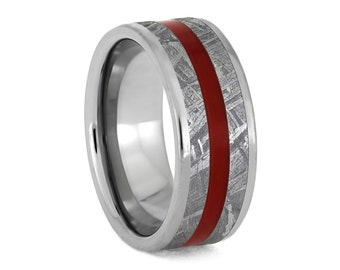 Meteorite Ring With Red Enamel Pinstripe, Titanium Wedding Band, Colorful Space Jewelry