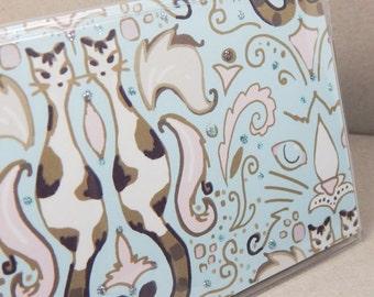 Checkbook cover - Elegant Cat Damask - Soft Aqua - cat theme checkbook holder - pink, cream, tan, pastel