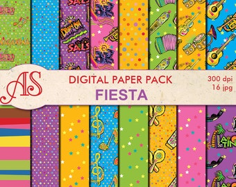Digital Fiesta Paper Pack, 16 printable Digital Scrapbooking papers, musical instrument Digital Collage, Instant Download, set 266