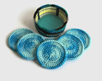 Blue Crochet Coasters Set, Coasters with Holder, Set of 6 Coasters, Cotton Mug Rugs