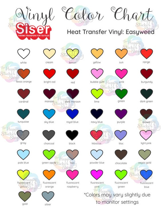 Set Of 3 Vinyl Color Charts Digital Download Included Are Oracal
