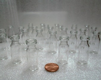 Set of 100 Pcs  3mL 1/10th Oz Tiny,Mini Miniature Clear 'Potion' Steampunk - For Crafts, Pendants, moss REAL Oak Corks 9.99 for 100 Bottles!