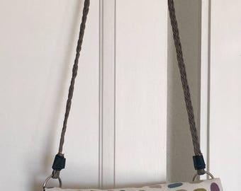 BI-material faux leather/multicolored Jacquard cotton bag/pouch