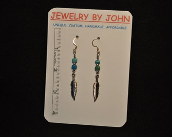 Silver Feather Dangles with Turquoise and Silver Beads on Ear Wires