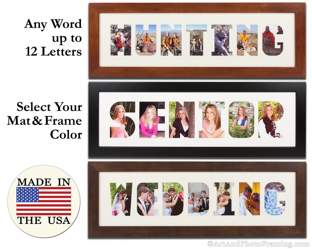 Collage Frame Wordmat Picture Frame Name Cutout Word Art Custom Wall ...