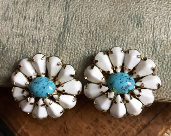 Weiss Milk Glass and Blue Turquoise Prong Clip Earrings