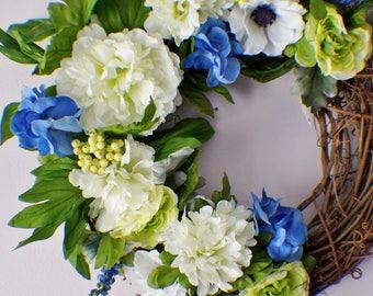 Front Door Wreath, Summer Wreath, Spring Wreaths, Hydrangeas and Peonies Wreath, Year Round Wreath, Spring Door Wreaths, Mothers Day