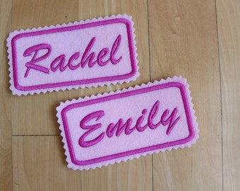 Set of 2 Custom Felt Iron-on Name patch, 4x2 inches, Monogrammed Personalised name tag, embroidered name patch F5
