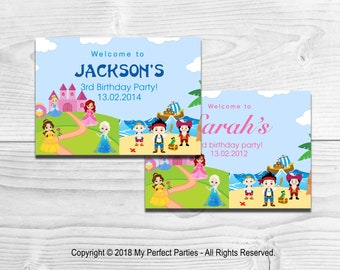 DIGITAL DOWNLOAD - Personalised Princess and Pirate Children's Birthday Party Welcome Sign - PRINTABLE