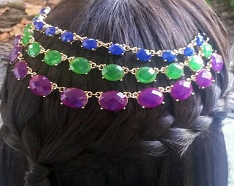 3 strand Blue, purple, and green hair necklace