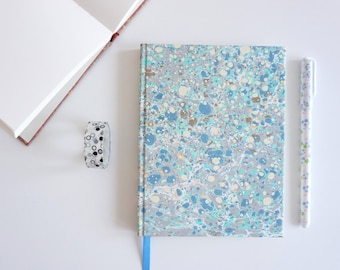 Marbled A6+ Notebook - Moon Notebook - Original Size Blanc Notebook - Diary - Hand Painted Cover