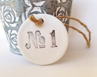 5 Number decorations ~ use as home decor or for decorating presents ~ wedding favors ~ table centres ~ clay tag