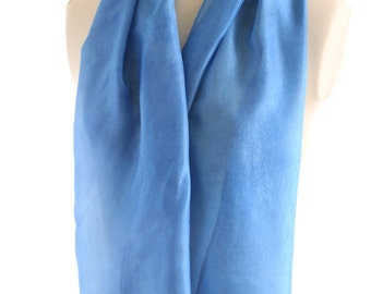 natural indigo scarf sky blue silk organic dyed indigo scarf aqua blue wedding shawl naturally dyed scarf watercolour eco gift for her