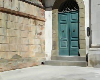 Fine art photography print 'Green Door in watercolour' - Door photography print wall art, photography.