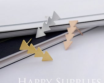 Nickel Free - High Quality Long Bar Triangle Golden / Silver / Rose Gold Brass Earring Post Finding with Ear Stud Stopper (ZEN101)