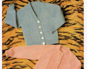 PDF - Small Child's Boy's Girl's V and Round Neck Cardigan  - Hayfield DK 1115 size 46 to 61 cm (18 to 24 inches) - Vintage Knitting Pattern