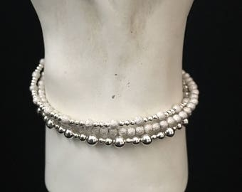 Sterling Silver Glitter Trio Bracelets