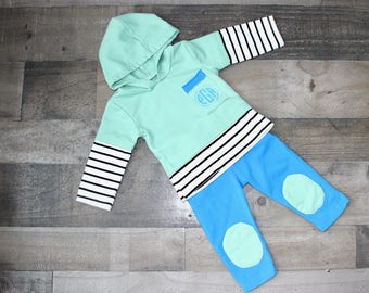 Monogrammed Mint and Blue Striped Pocket Sweatsuit - Hoodie and Pants Outfit