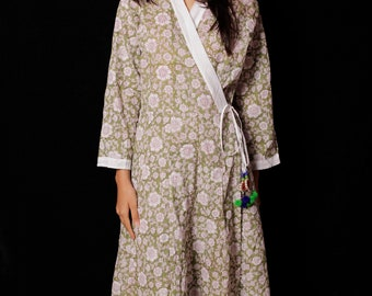Indian Hand block Printed Long Kimono Gown Dress For Women, Block Print Dress & Tunics, Hand Printed Dress, Women White Cotton Long Gown