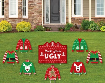 Ugly Sweater Party Shaped Lawn Decorations - Holiday Yard Decorations - Christmas Lawn Ornaments - Shaped Yard Art - Tacky Sweater - 8 Pc.