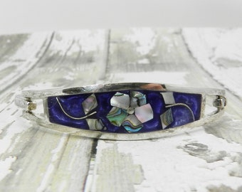 Vintage Bracelet TAXCO Abalone Floral Flower Blueish Purple Background Sterling Silver Stamped 925 Mexico Mexican Sparklykreations