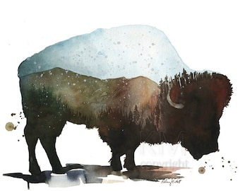 Watercolor Painting Print 'Mountain Roaming' -- Blue Home/office decor and wall art, Animal print of Bison