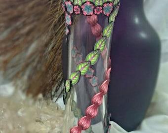Pink Tutti Fruitti Petals Kaleidoscope Polymer Clay Vase Wyndsong Designs