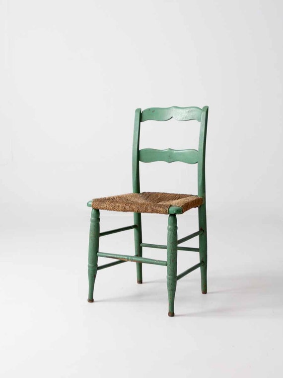 & vintage rush seat chair painted wood chair
