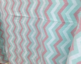 Aqua chevron fleece blanket.  Almost 5 x 6 feet!!