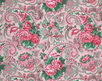 "LAMINATED Cotton  - Veranda Paisley Rose, 56"" Wide, BPA & PVC Free"