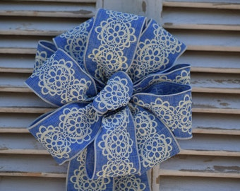 Denim and Lace Bow, Linen Bow, Blue and White Bow, Wreath Bow, Decorative Bow, Basket Bow, Summer Bow, Shower Bow, Spring Bow