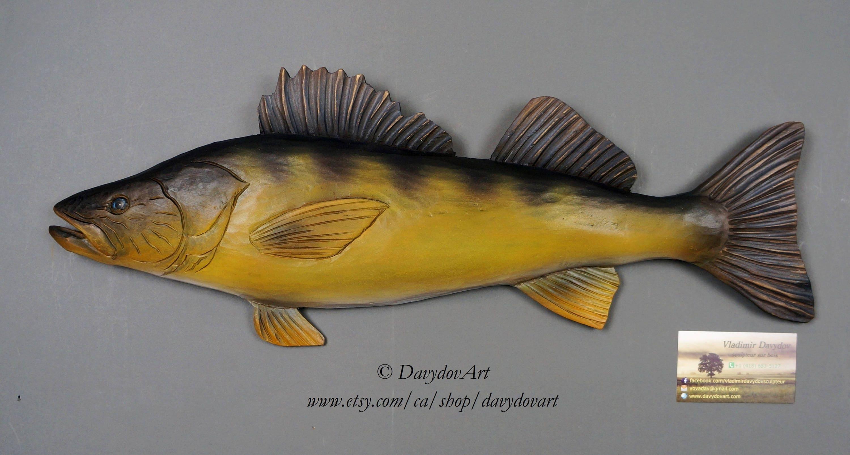 Relief Wood Carving Wood Carved Fish Walleye by Vladimir