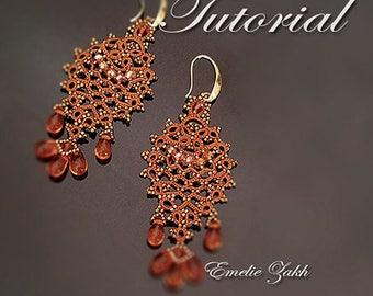 Tatting lace Pattern  Earrings - Frivolite earrings tatting with beads frivolite earring - Instruction jewelry making beaded earrings