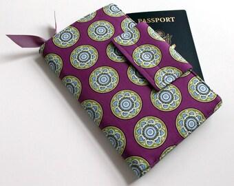 Passport Wallet, Travel organizer, Smart phone holder,Purple,Gray Chevron lining- Ready to ship