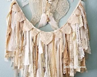 Garland, Banner, Fabric Garland, Rag Garland, Tattered Banner, Lace Garland, Shabby Chic, Wedding Backdrop, Brides Chair Prop, Nursery Decor
