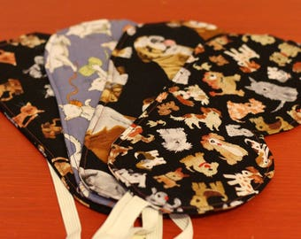 Sleep eye masks 100% cotton in various dog and cat prints
